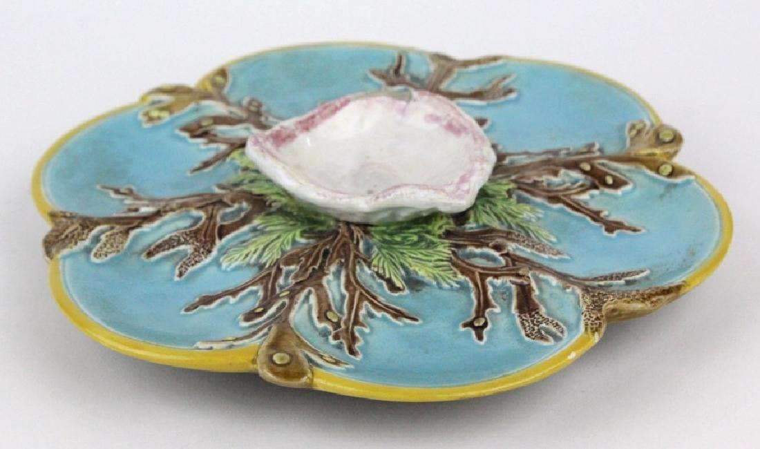 Pair George Jones Majolica 6 Well Oyster Plates - 4