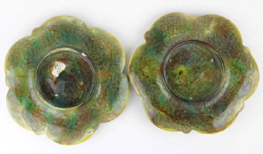 Pair George Jones Majolica 6 Well Oyster Plates - 7