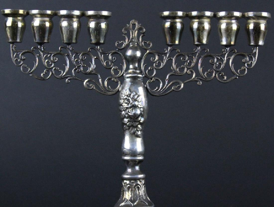 Signed HAZORFIM Sterling Silver Menorah Judaica - 2
