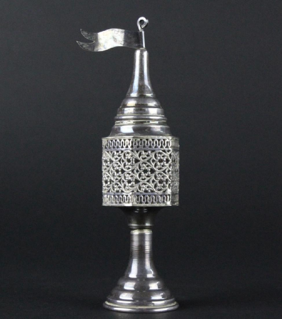 "Sterling Silver Filigree Besamim Spice Tower 5.5"" - 5"
