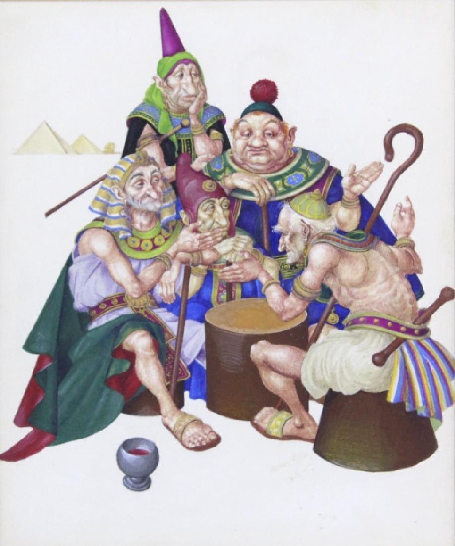 ARTHUR SZYK Moses Pharaoh Gouache Painting 1945