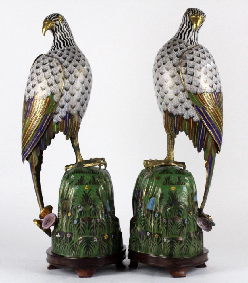 """PAIR of Chinese Cloisonne Enamel Birds of Prey 25"""""""