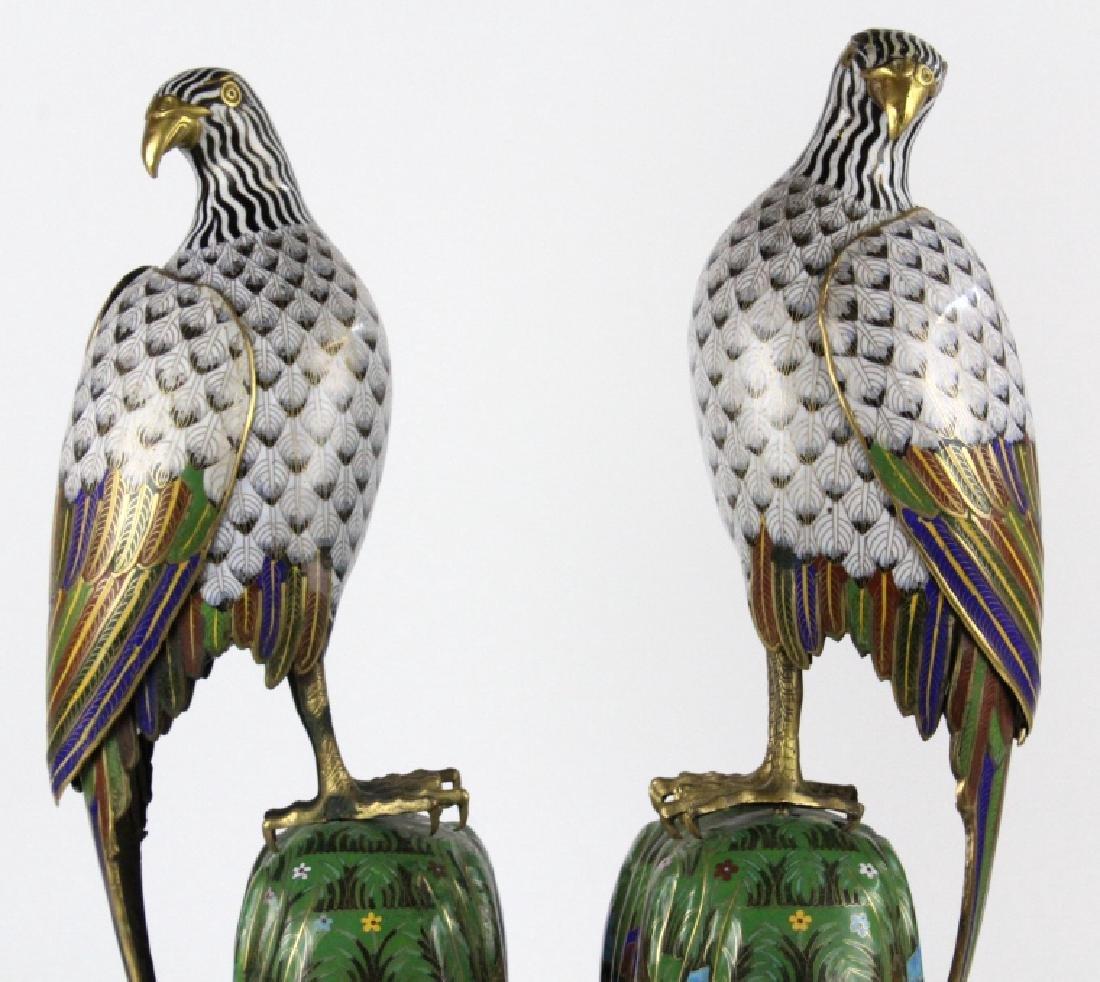 """PAIR of Chinese Cloisonne Enamel Birds of Prey 25"""" - 2"""