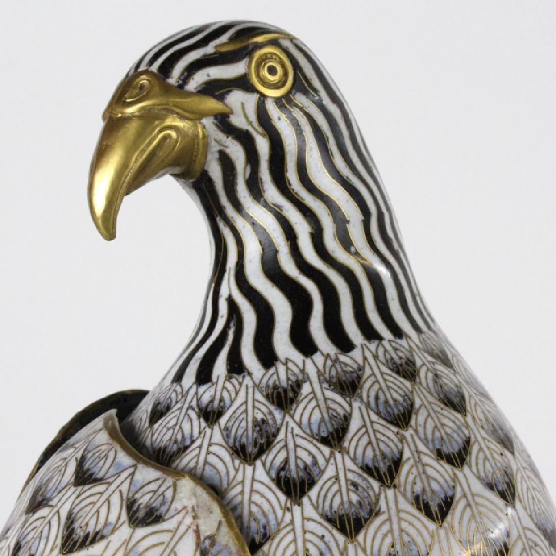 """PAIR of Chinese Cloisonne Enamel Birds of Prey 25"""" - 4"""