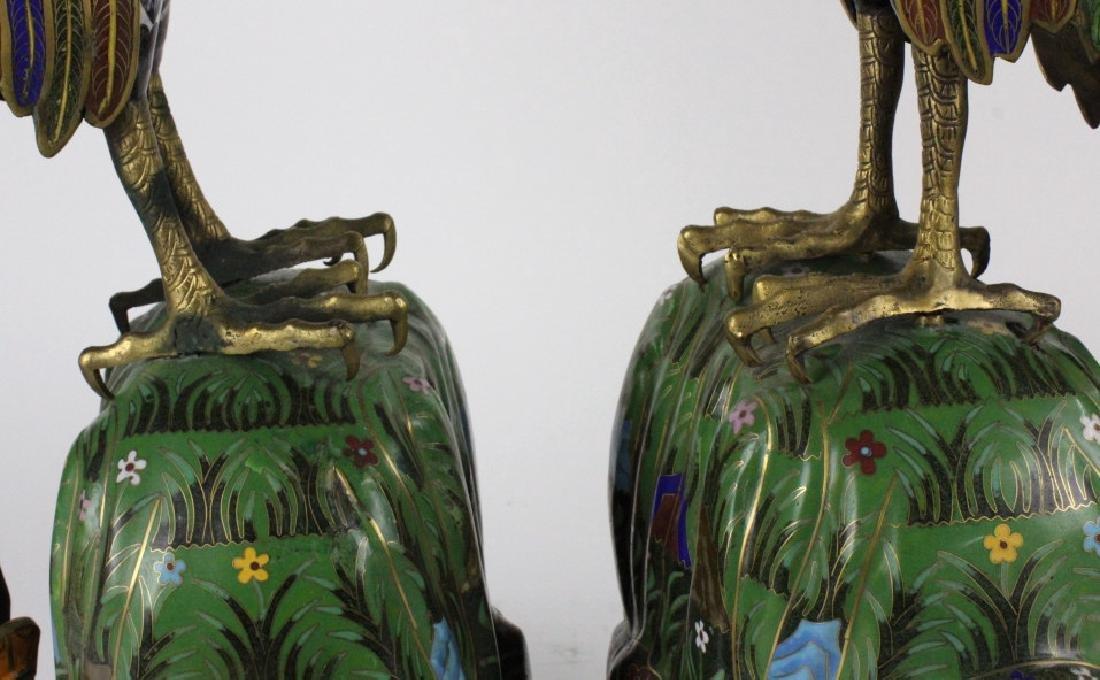 """PAIR of Chinese Cloisonne Enamel Birds of Prey 25"""" - 5"""