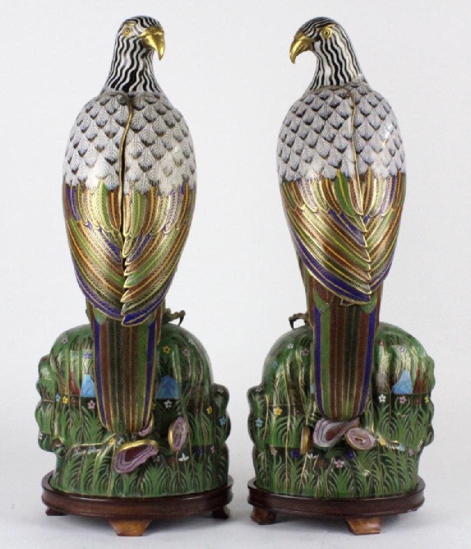 """PAIR of Chinese Cloisonne Enamel Birds of Prey 25"""" - 6"""