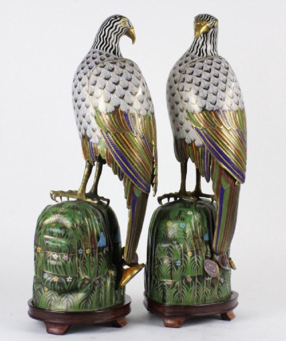 """PAIR of Chinese Cloisonne Enamel Birds of Prey 25"""" - 7"""