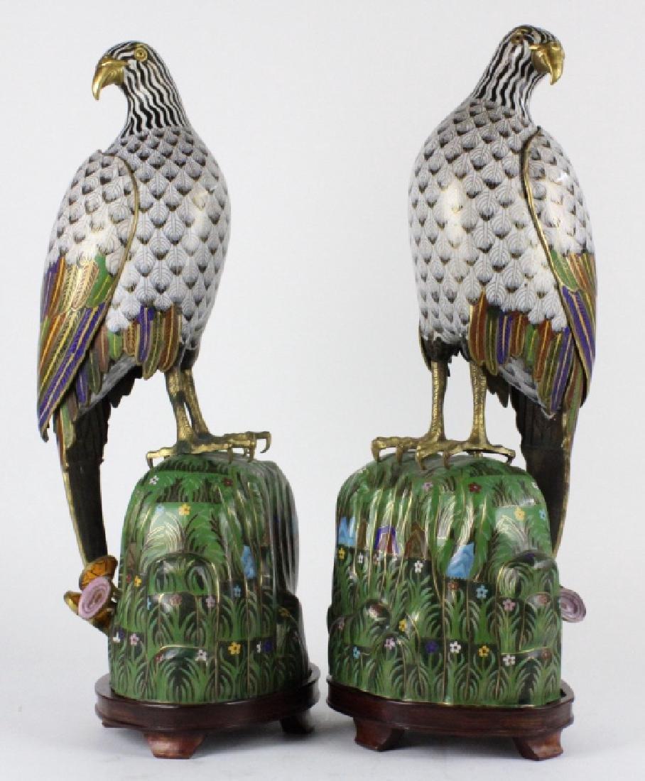 """PAIR of Chinese Cloisonne Enamel Birds of Prey 25"""" - 8"""