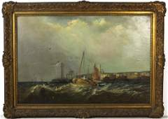 Antique Mystery Art English Seascape Oil Painting