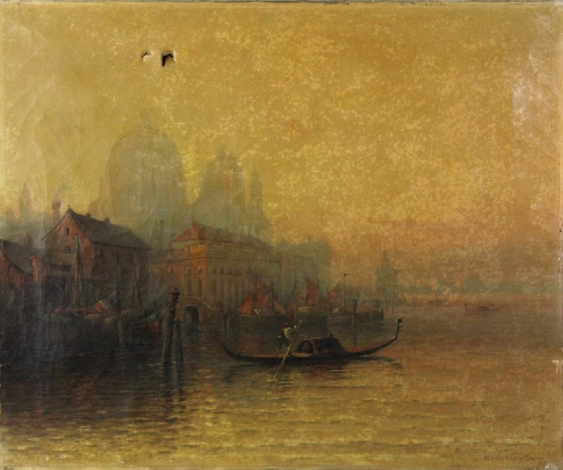 Albert E Downs Canal Guidecca Venice Oil Painting