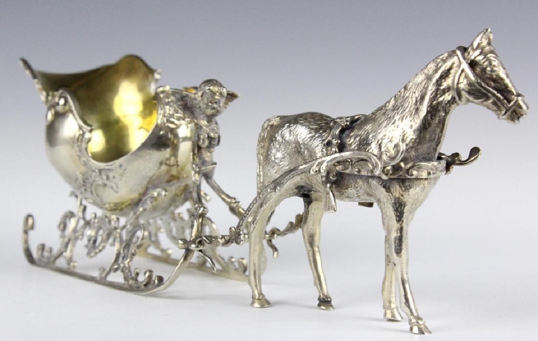 Continental 800 Silver Figural Horse Drawn Sleigh
