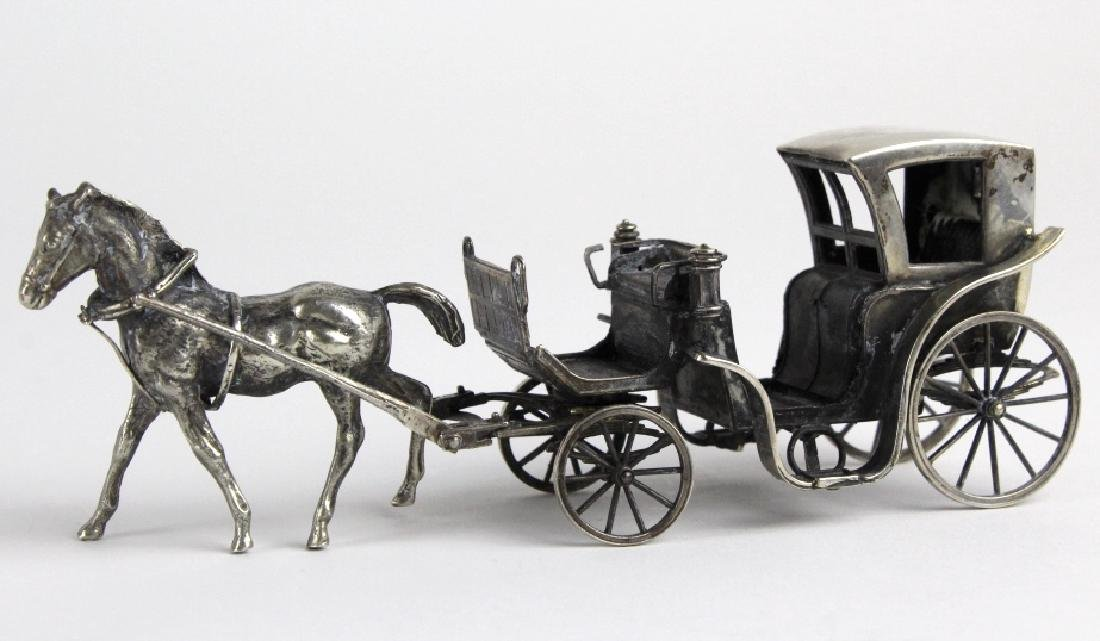 Miniature Sterling Silver Horse Drawn Carriage