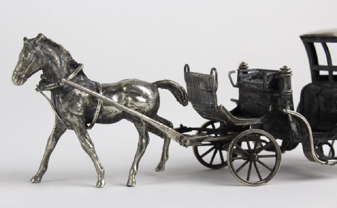 Miniature Sterling Silver Horse Drawn Carriage - 2