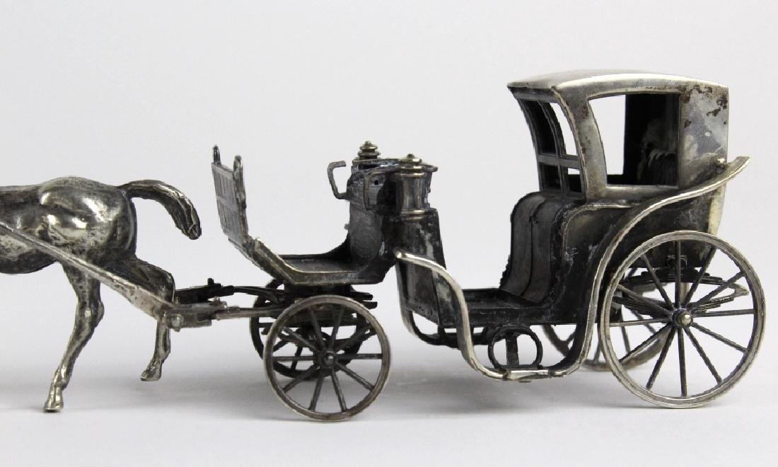 Miniature Sterling Silver Horse Drawn Carriage - 3