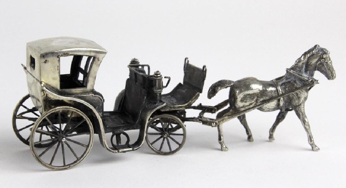 Miniature Sterling Silver Horse Drawn Carriage - 4