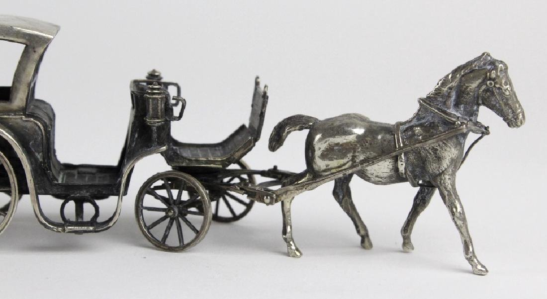Miniature Sterling Silver Horse Drawn Carriage - 6