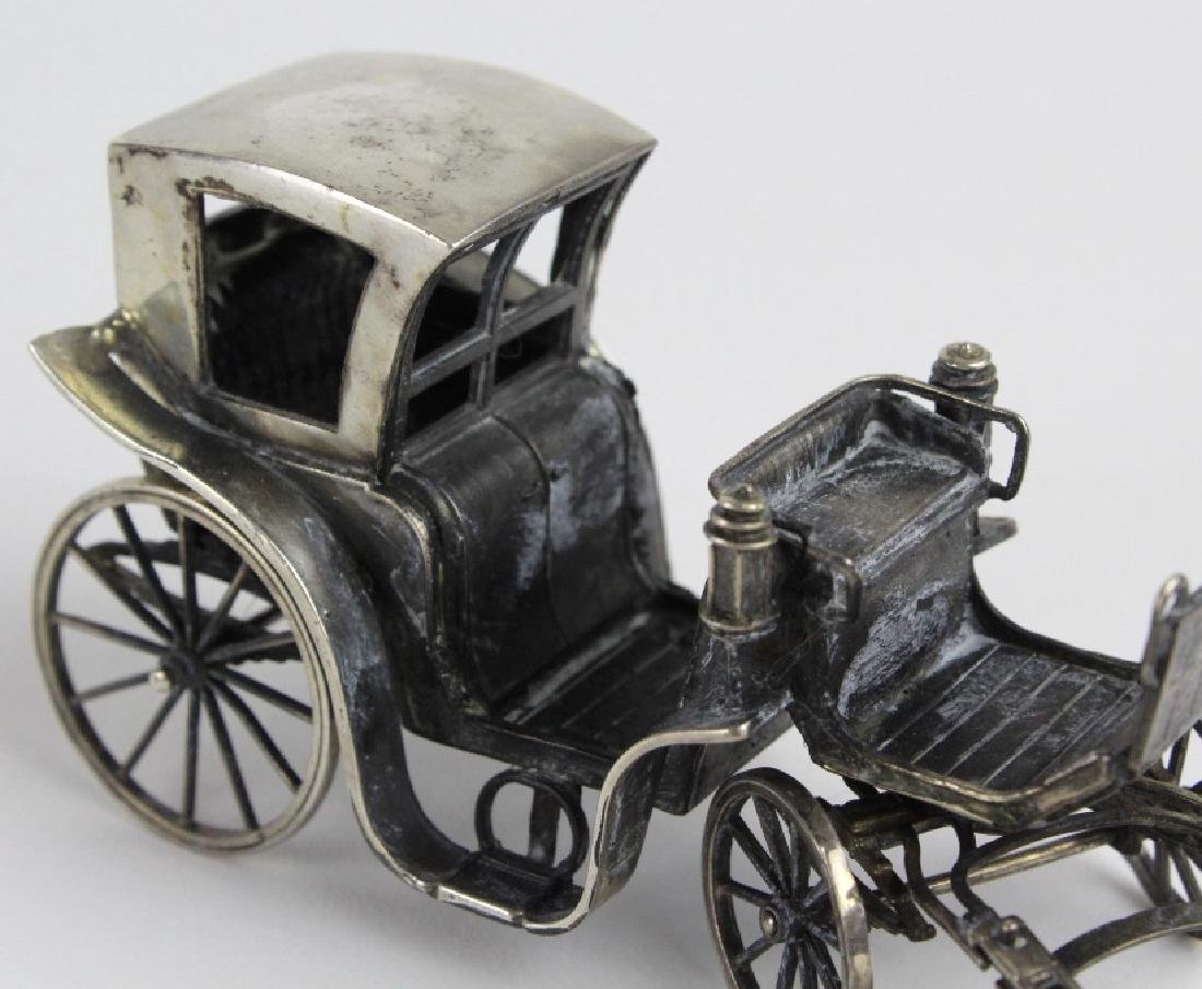 Miniature Sterling Silver Horse Drawn Carriage - 7