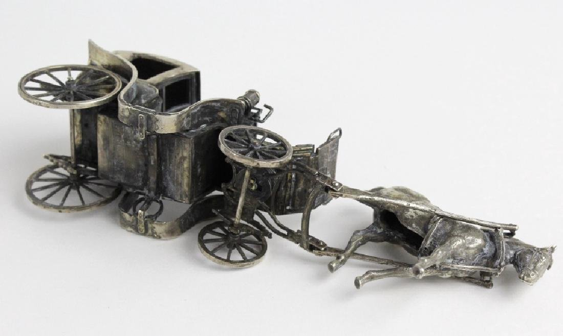 Miniature Sterling Silver Horse Drawn Carriage - 8