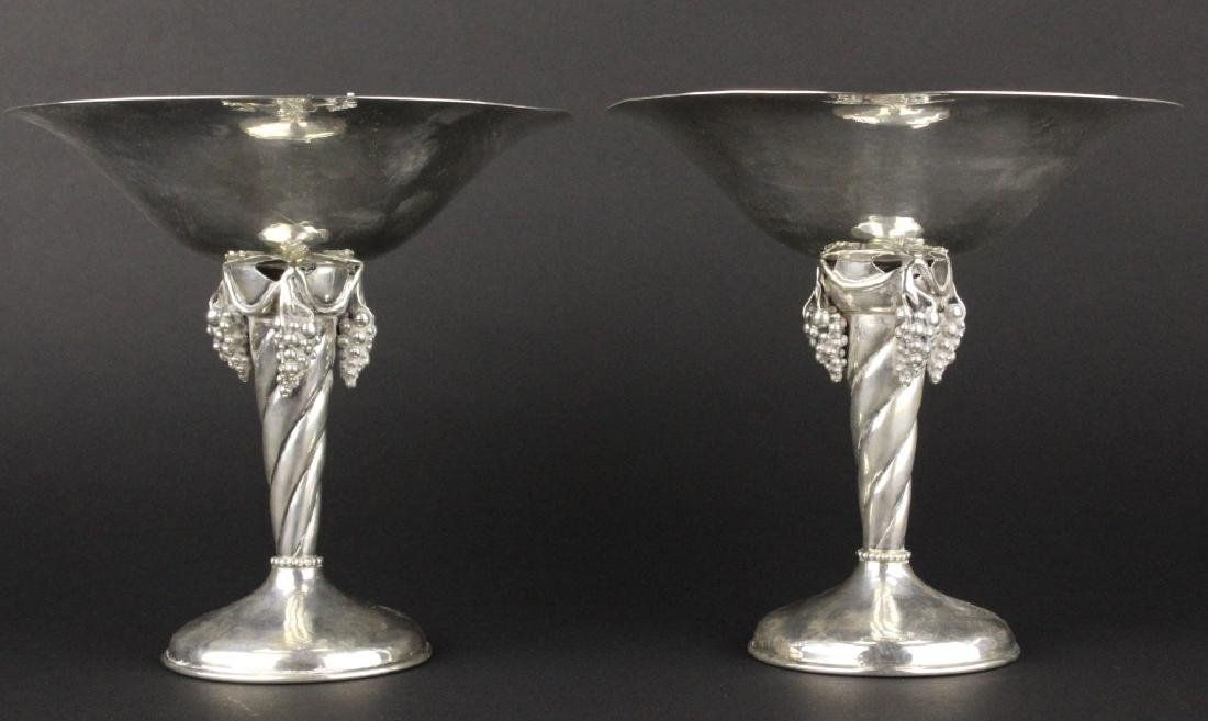 PAIR Signed DeMatteo Sterling Silver Compotes 781g - 4