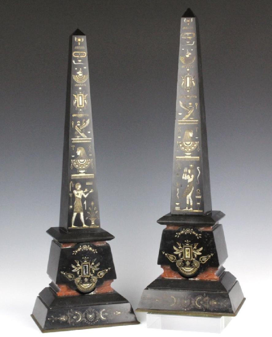 PAIR Egyptian Revival Black Marble Tower Obelisk