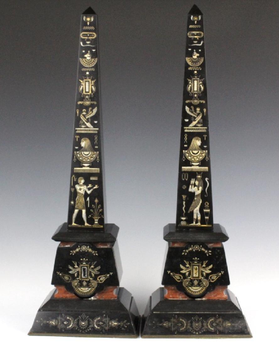 PAIR Egyptian Revival Black Marble Tower Obelisk - 2