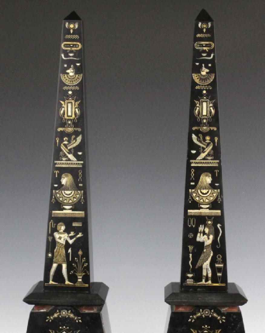 PAIR Egyptian Revival Black Marble Tower Obelisk - 3