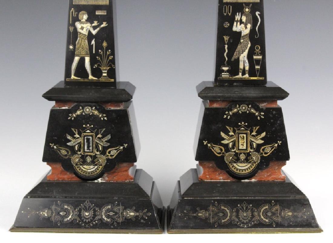 PAIR Egyptian Revival Black Marble Tower Obelisk - 4