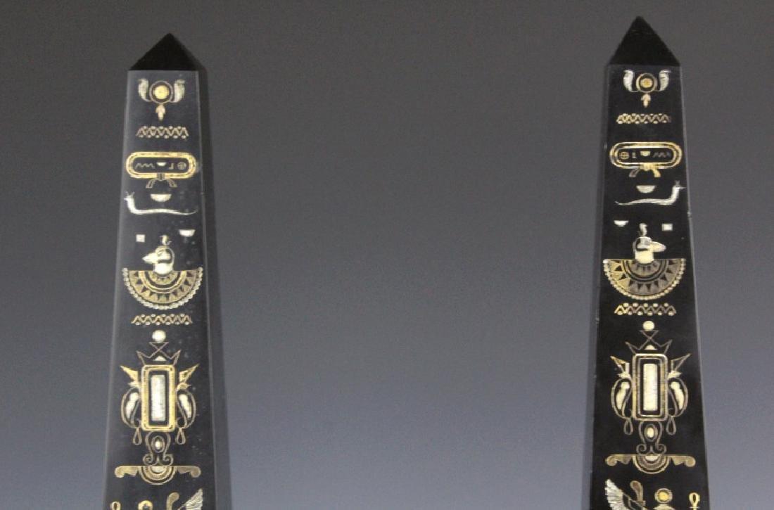 PAIR Egyptian Revival Black Marble Tower Obelisk - 5