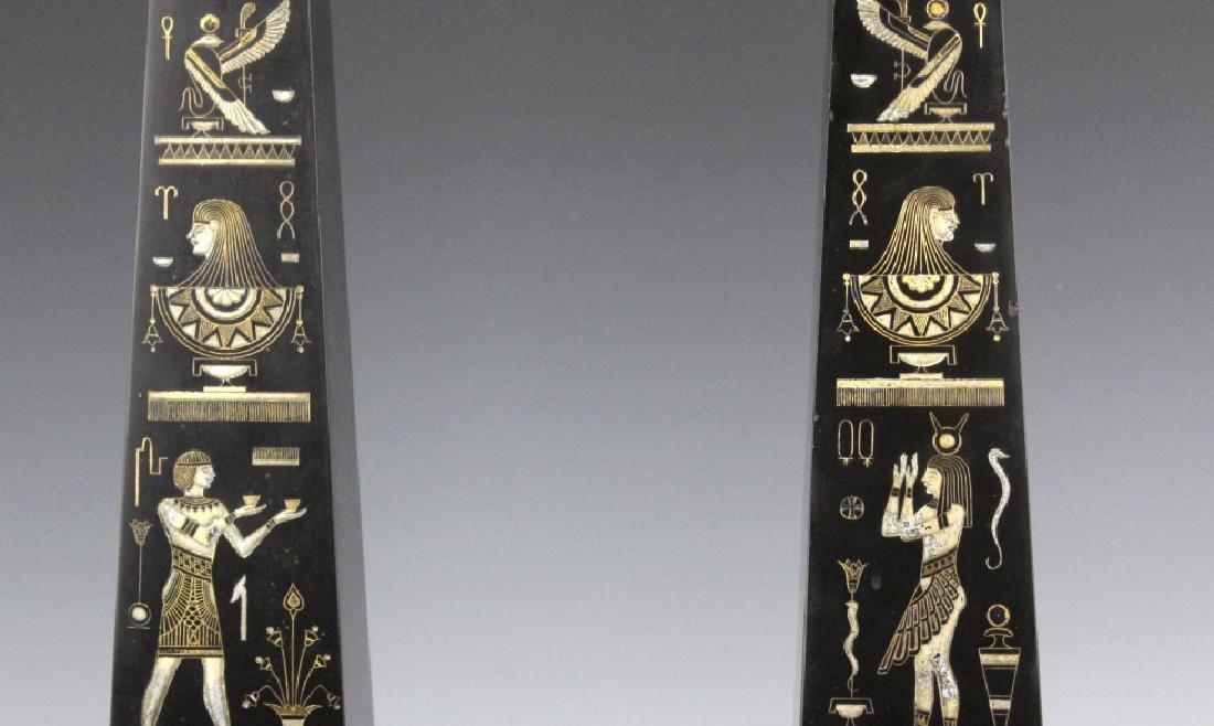PAIR Egyptian Revival Black Marble Tower Obelisk - 6