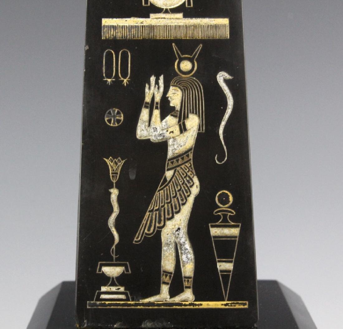 PAIR Egyptian Revival Black Marble Tower Obelisk - 7