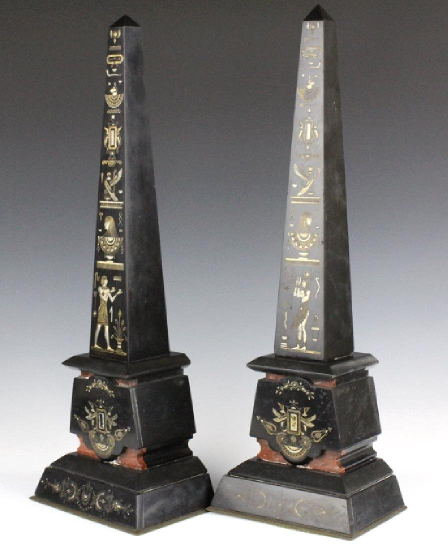 PAIR Egyptian Revival Black Marble Tower Obelisk - 8