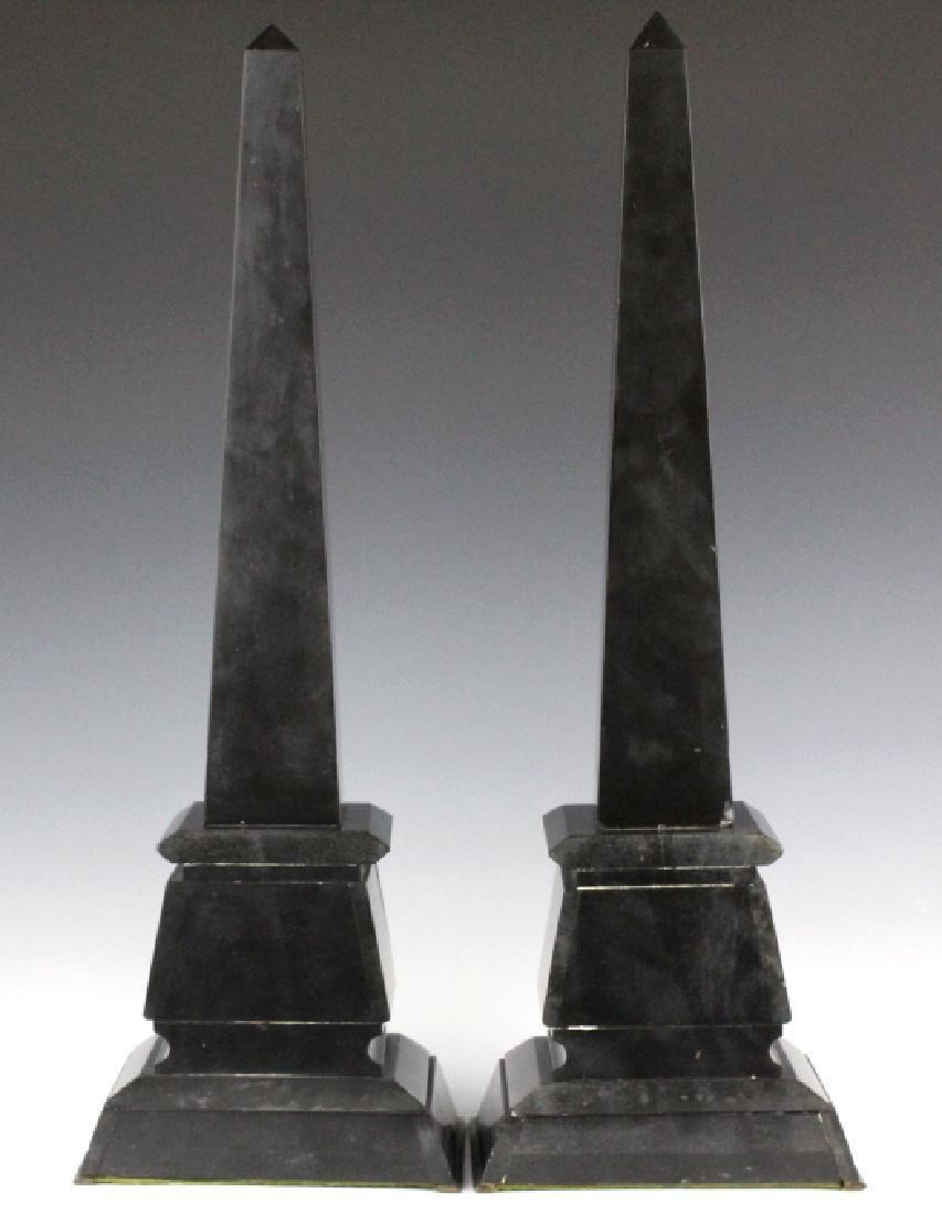 PAIR Egyptian Revival Black Marble Tower Obelisk - 9