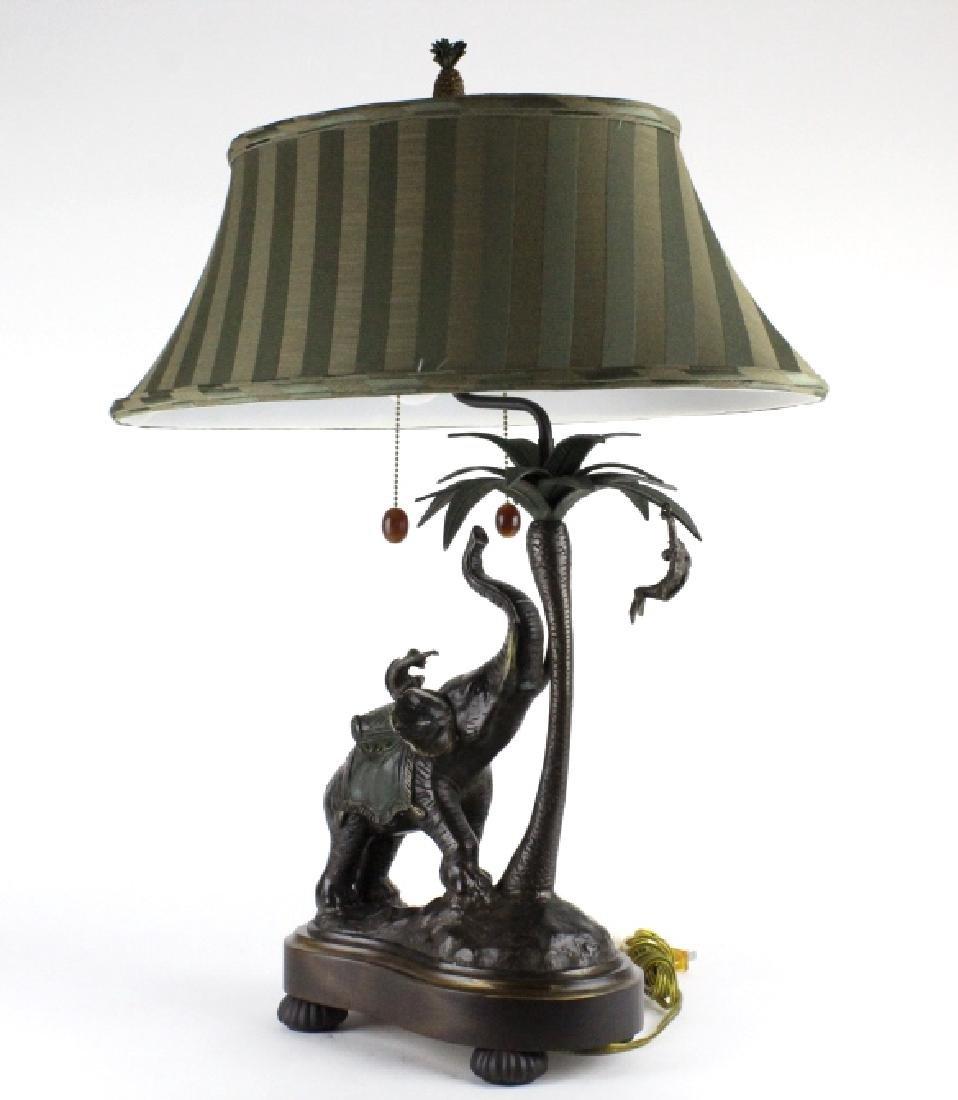 Frederick Cooper Bronze Elephant Monkey Desk Lamp - 10