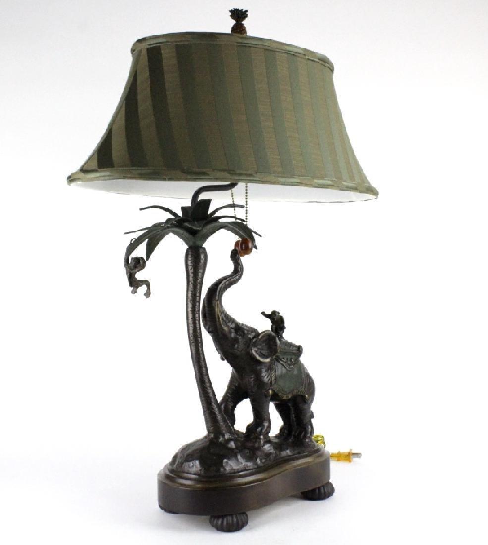 Frederick Cooper Bronze Elephant Monkey Desk Lamp - 6