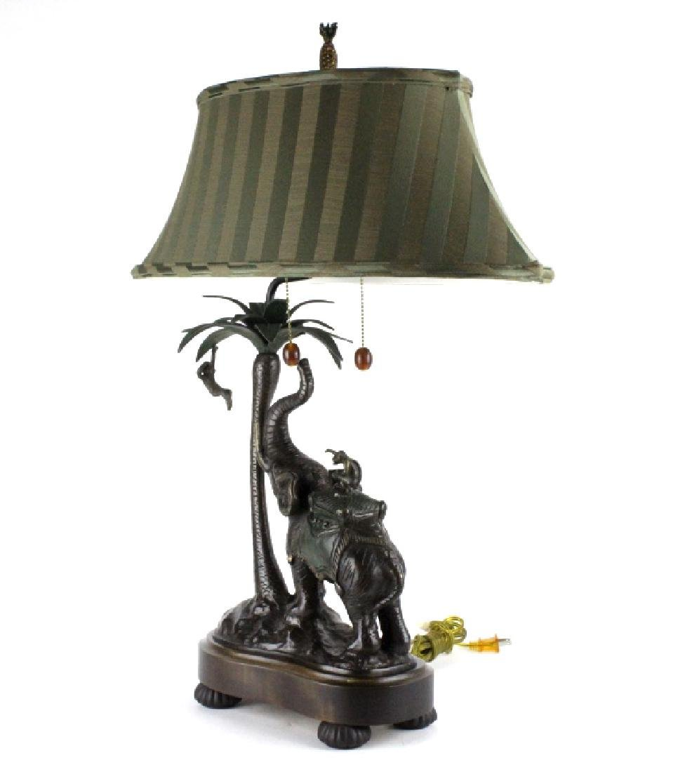 Frederick Cooper Bronze Elephant Monkey Desk Lamp - 7