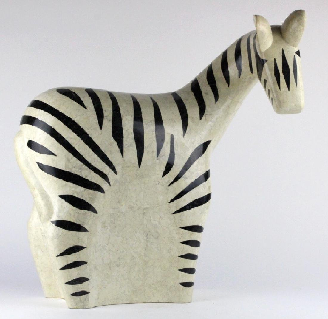 Maitland Smith Tessellated Marble Zebra Statue 24""