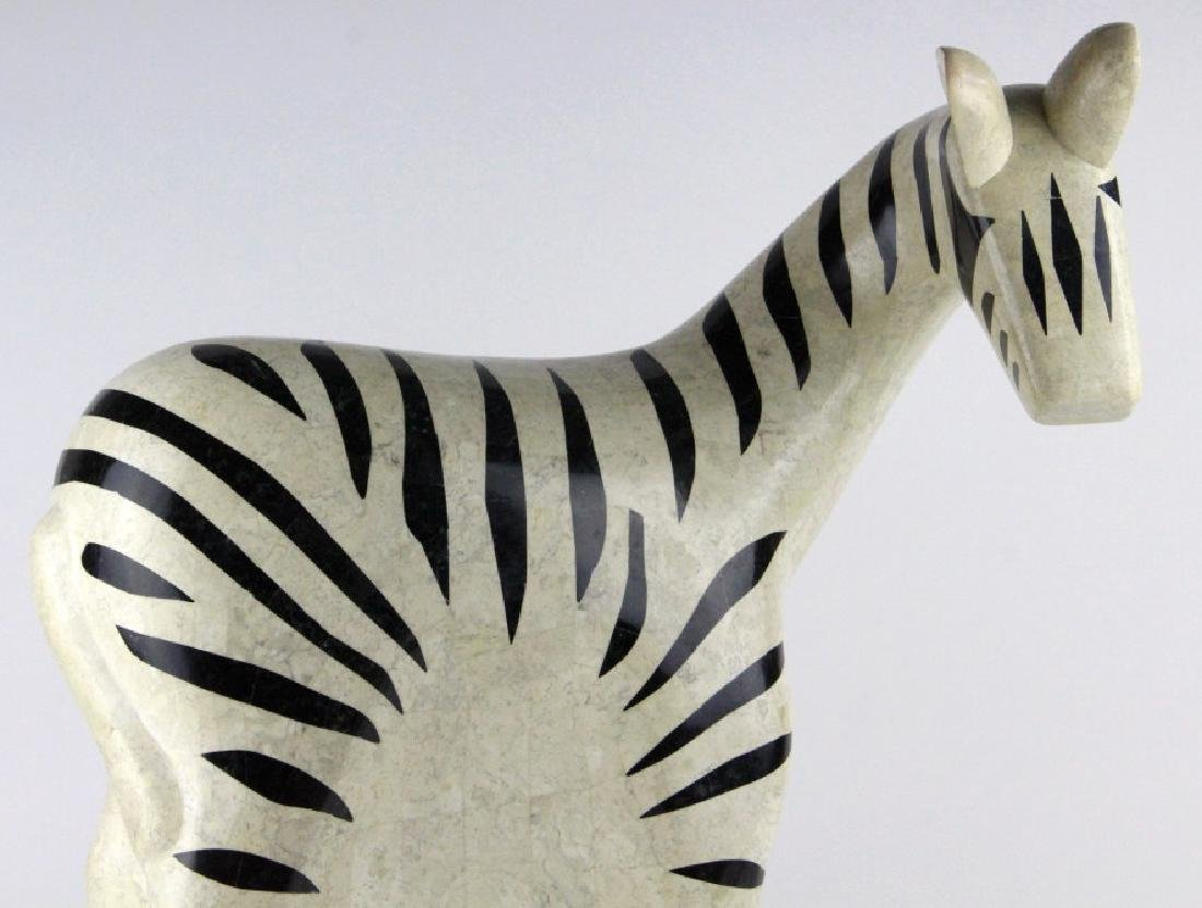 "Maitland Smith Tessellated Marble Zebra Statue 24"" - 2"