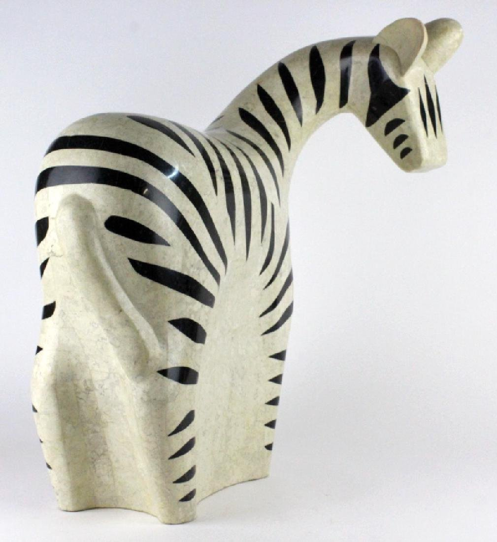 "Maitland Smith Tessellated Marble Zebra Statue 24"" - 4"