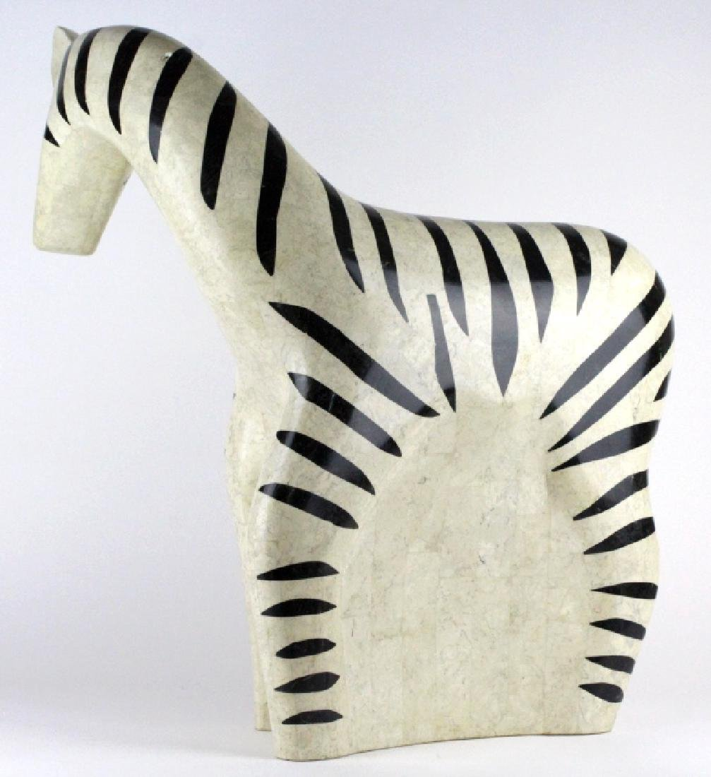 "Maitland Smith Tessellated Marble Zebra Statue 24"" - 5"