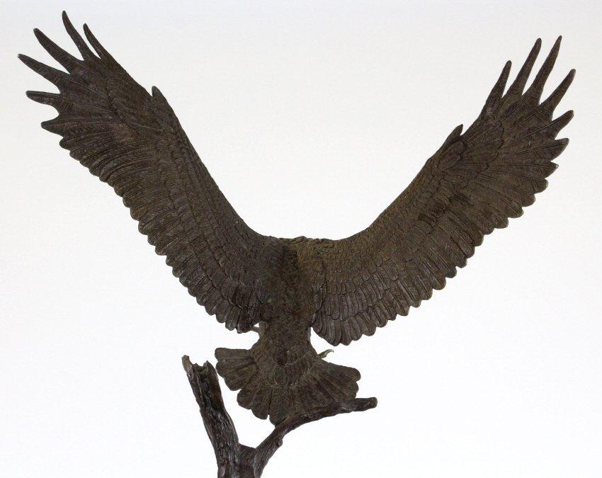 Wally Shoop American Bald Eagle Bronze Sculpture - 10