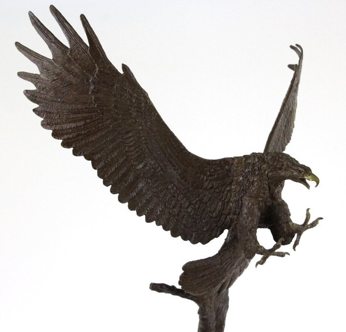 Wally Shoop American Bald Eagle Bronze Sculpture - 5