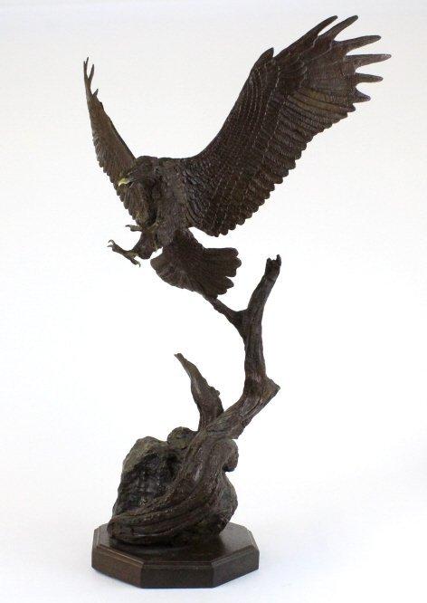 Wally Shoop American Bald Eagle Bronze Sculpture - 8