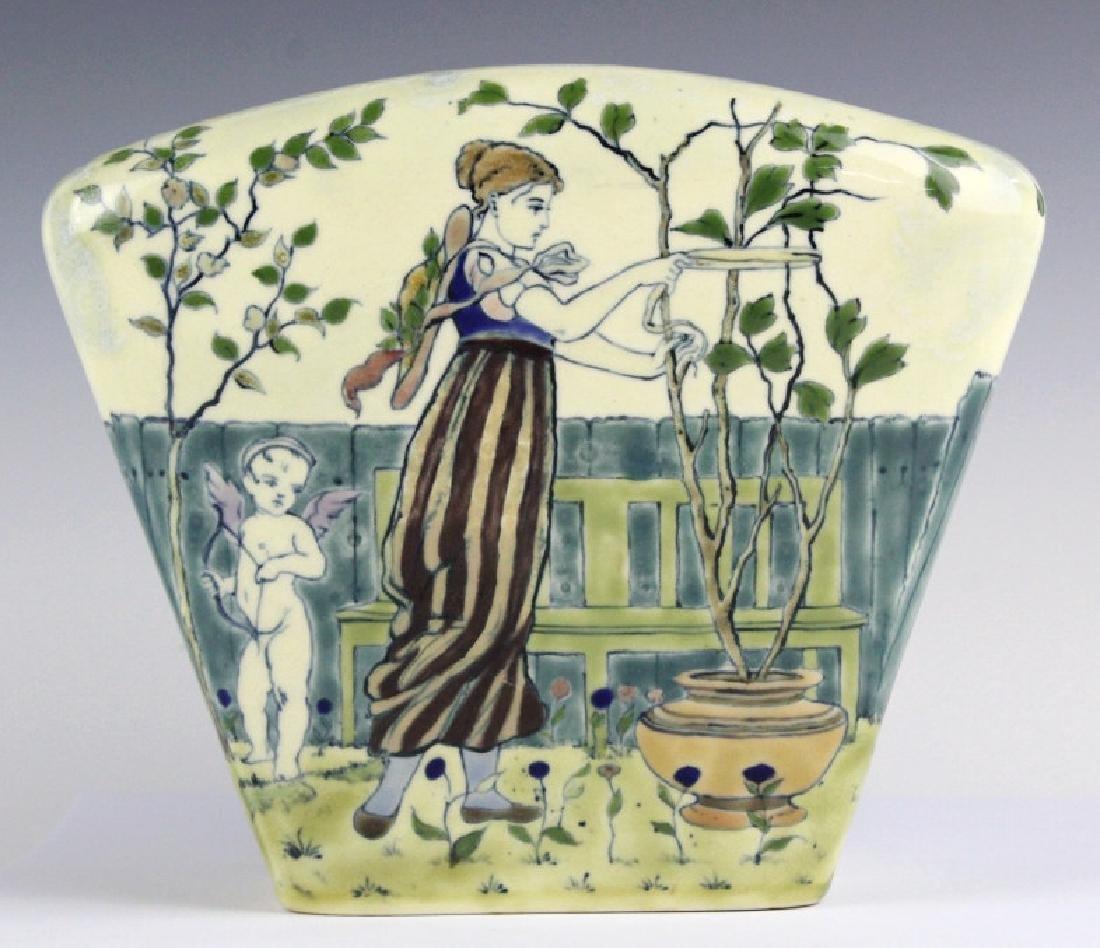 Zsolnay Garden & Figural Painted Rose Bowl Vase