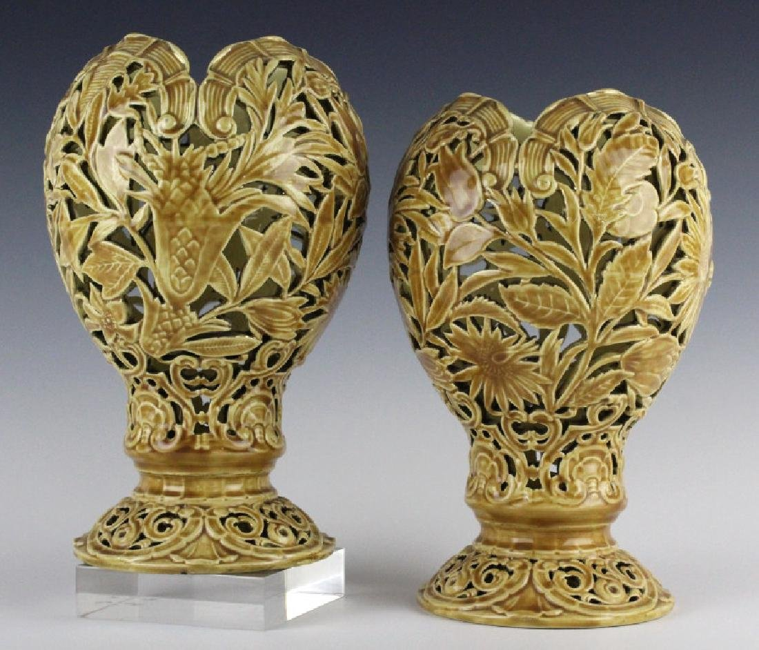 """PAIR of Zsolnay Reticulated Floral Vases 10 1/4"""""""
