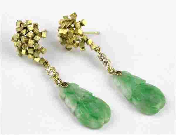 VTG Modernist 14k Chinese Green Jade Drop Earrings