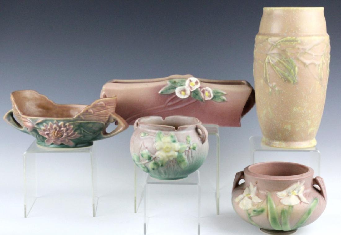 5 Piece ESTATE LOT of Roseville Art Pottery Items