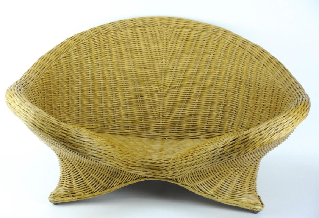 Vintage Mid Century Modern Woven Wicker Chair