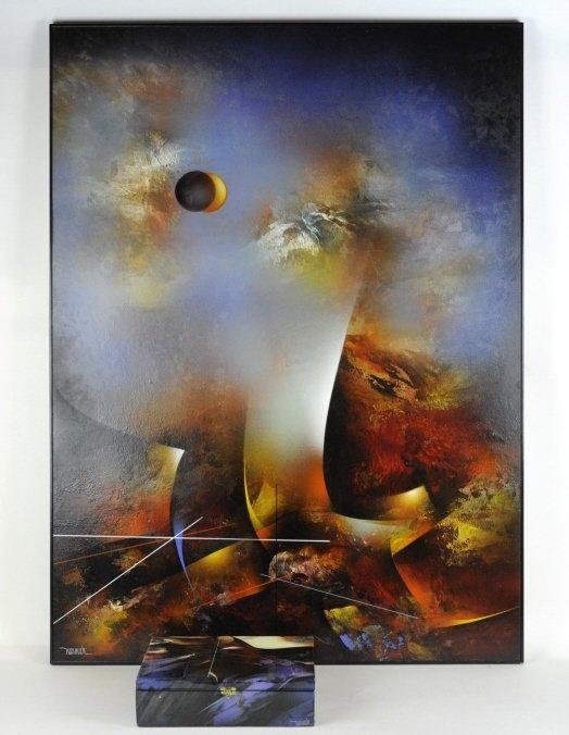 Leonardo Nierman Oil On Board Abstract Painting