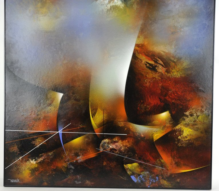 Leonardo Nierman Oil On Board Abstract Painting - 5