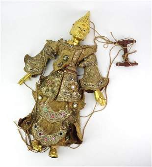Antique Thai Carved Gilt Wood Jeweled Puppet
